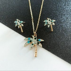 Tropical Palm Tree Necklace & Earring Set